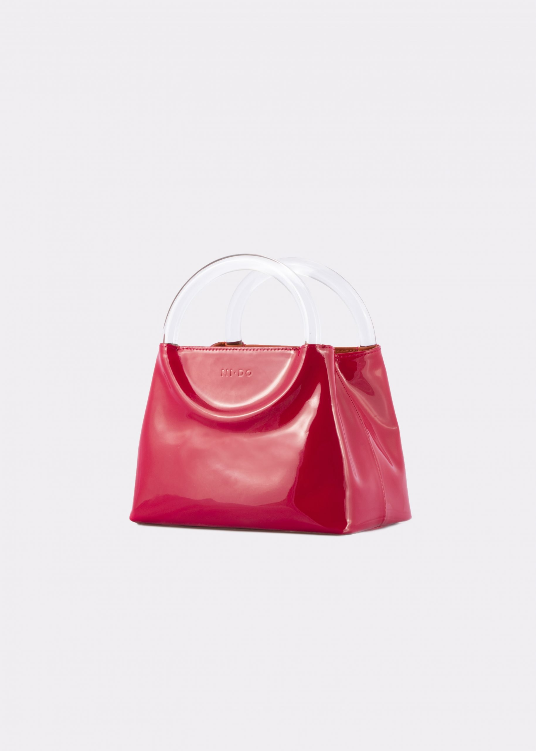 NIDO Bolla Mini Cherry Red patent leather-Plexy_side view