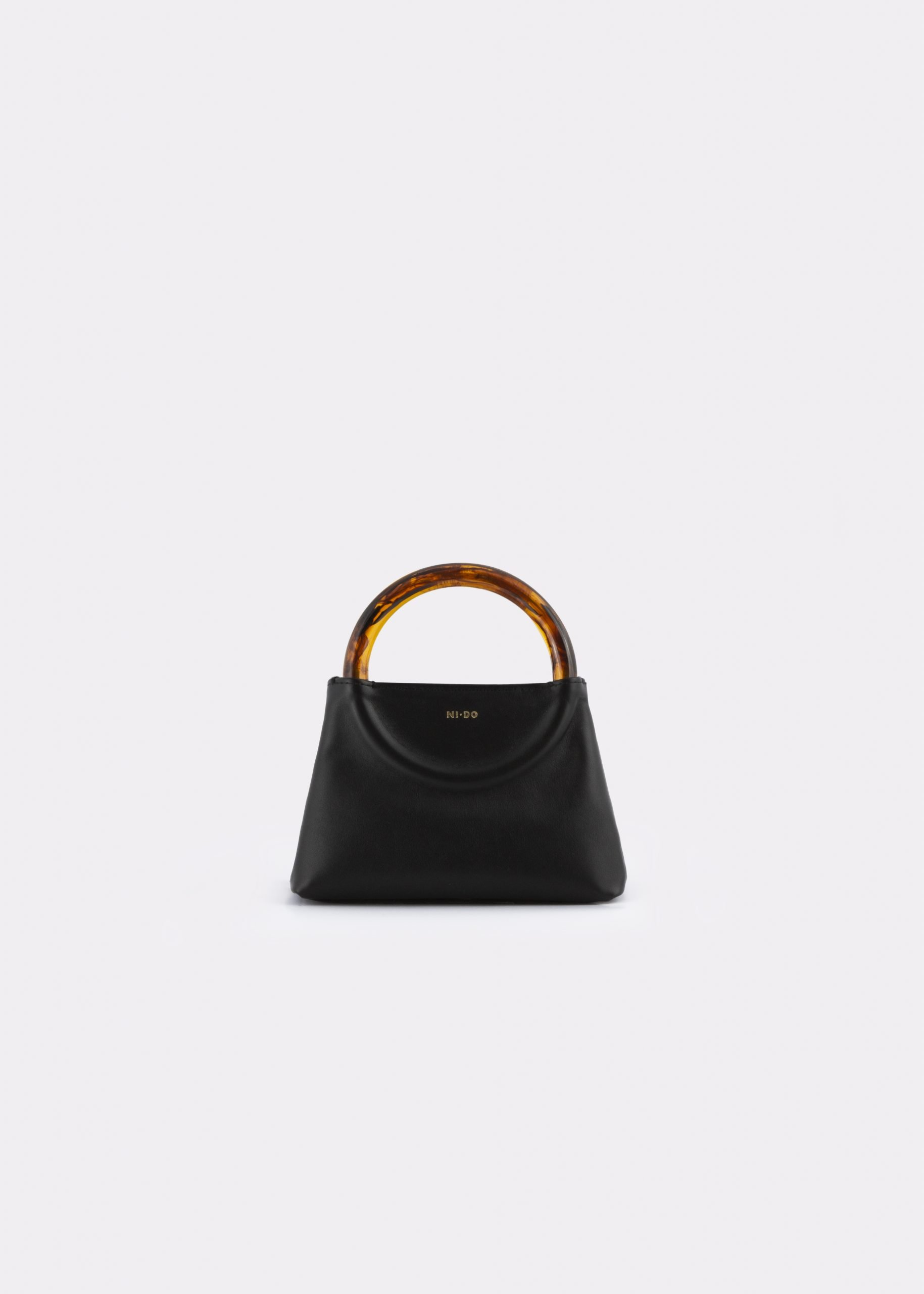NIDO Bolla Micro bag black leather Amber_front view