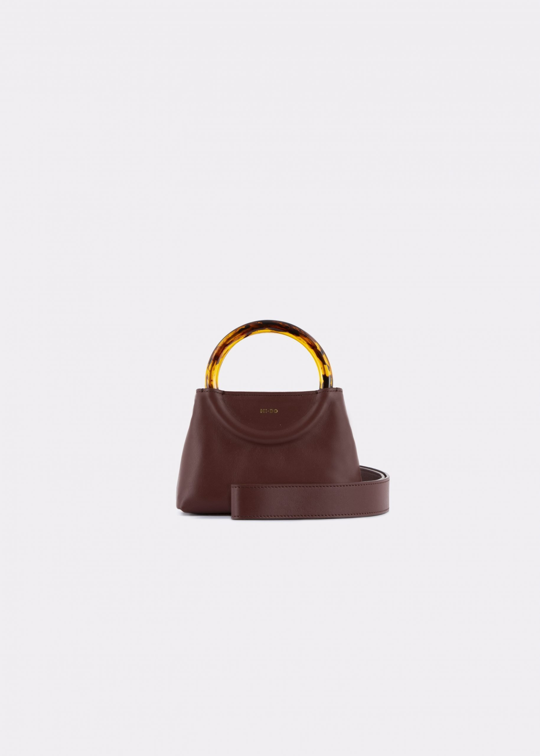 NIDO Bolla Micro bag brown leather Amber_shoulder strap view