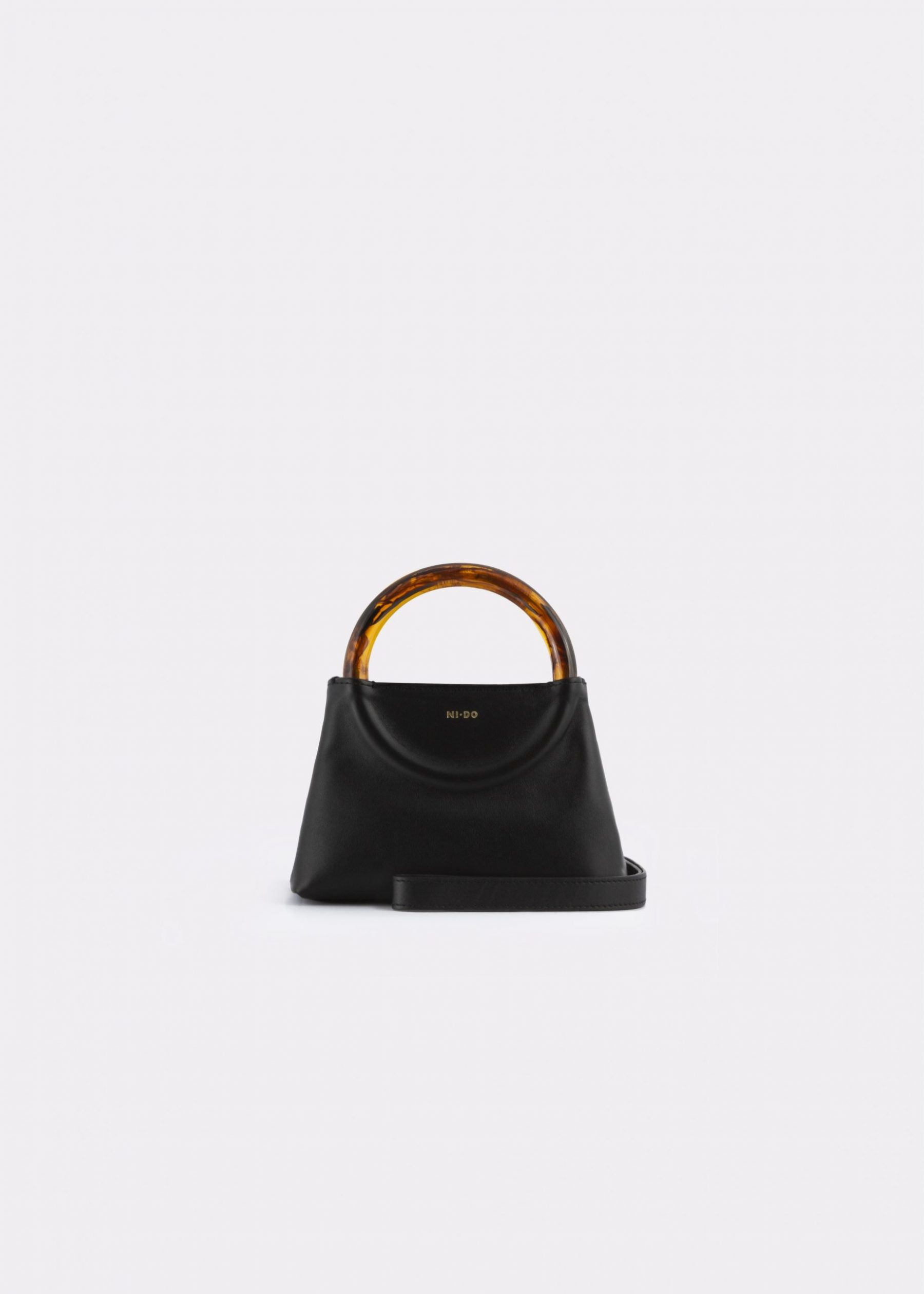NIDO Bolla Micro bag black leather Amber_shoulder strap view