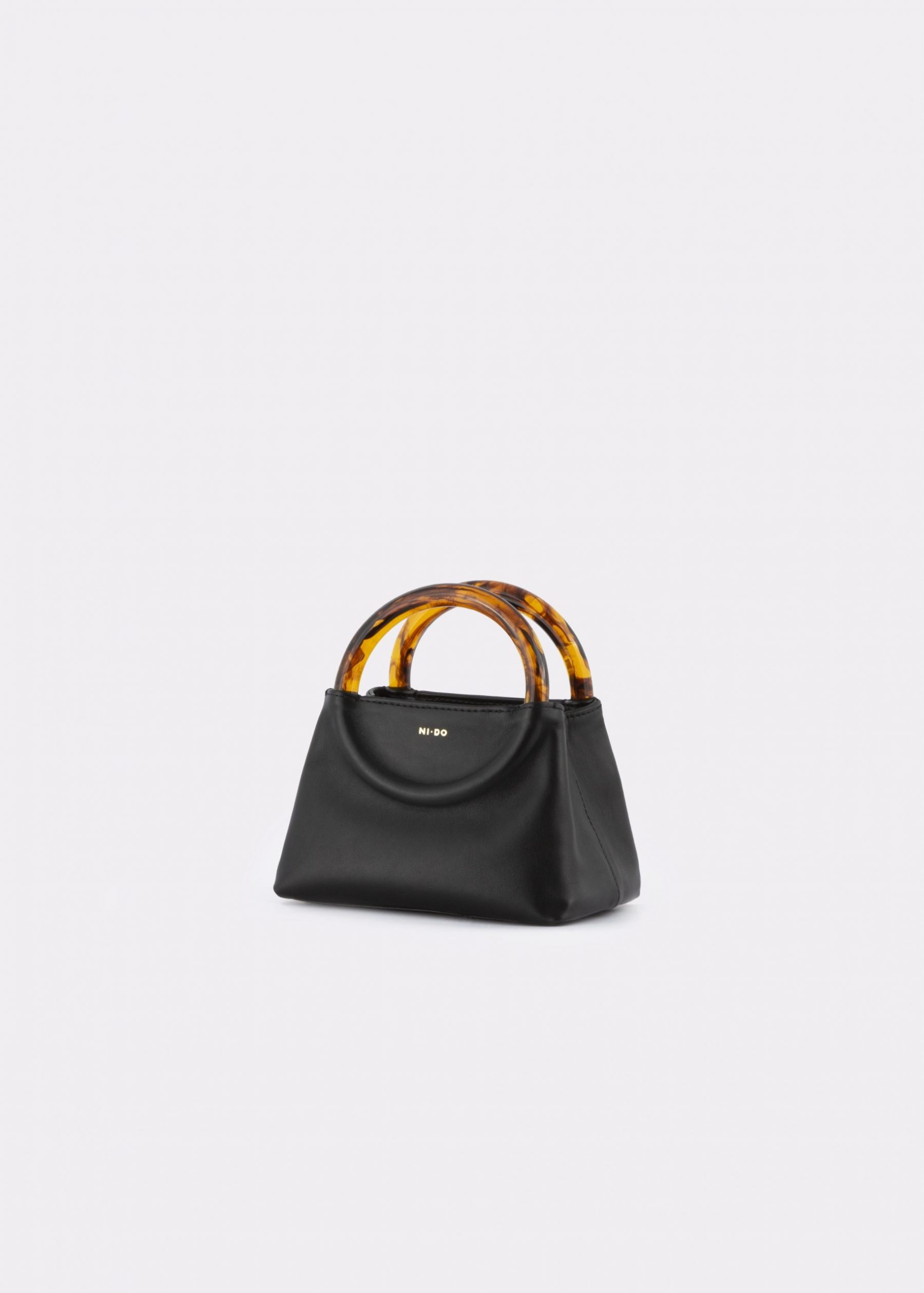 NIDO Bolla Micro bag black leather Amber_side view