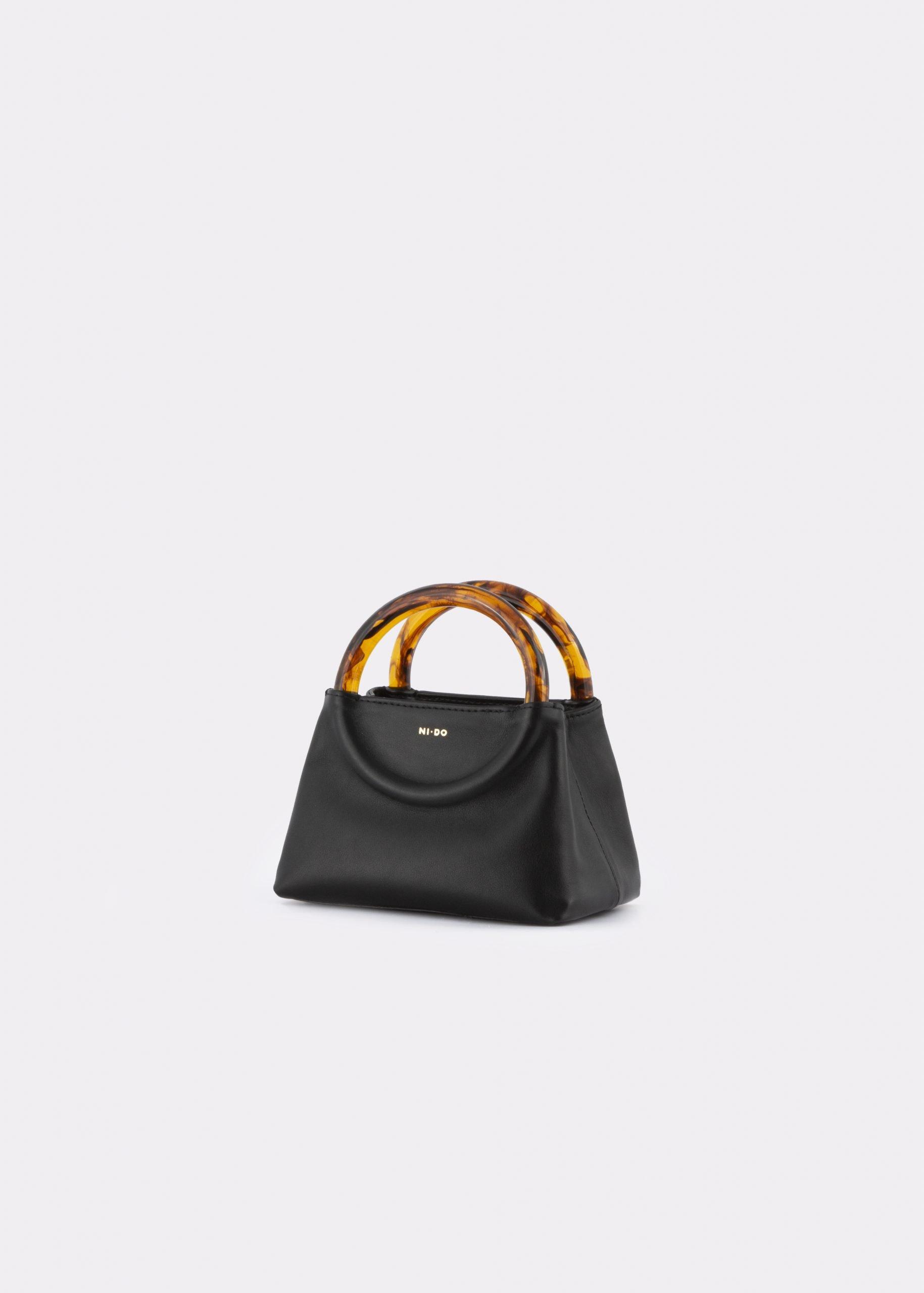 NIDO Bolla Micro bag black leather Amber_side view