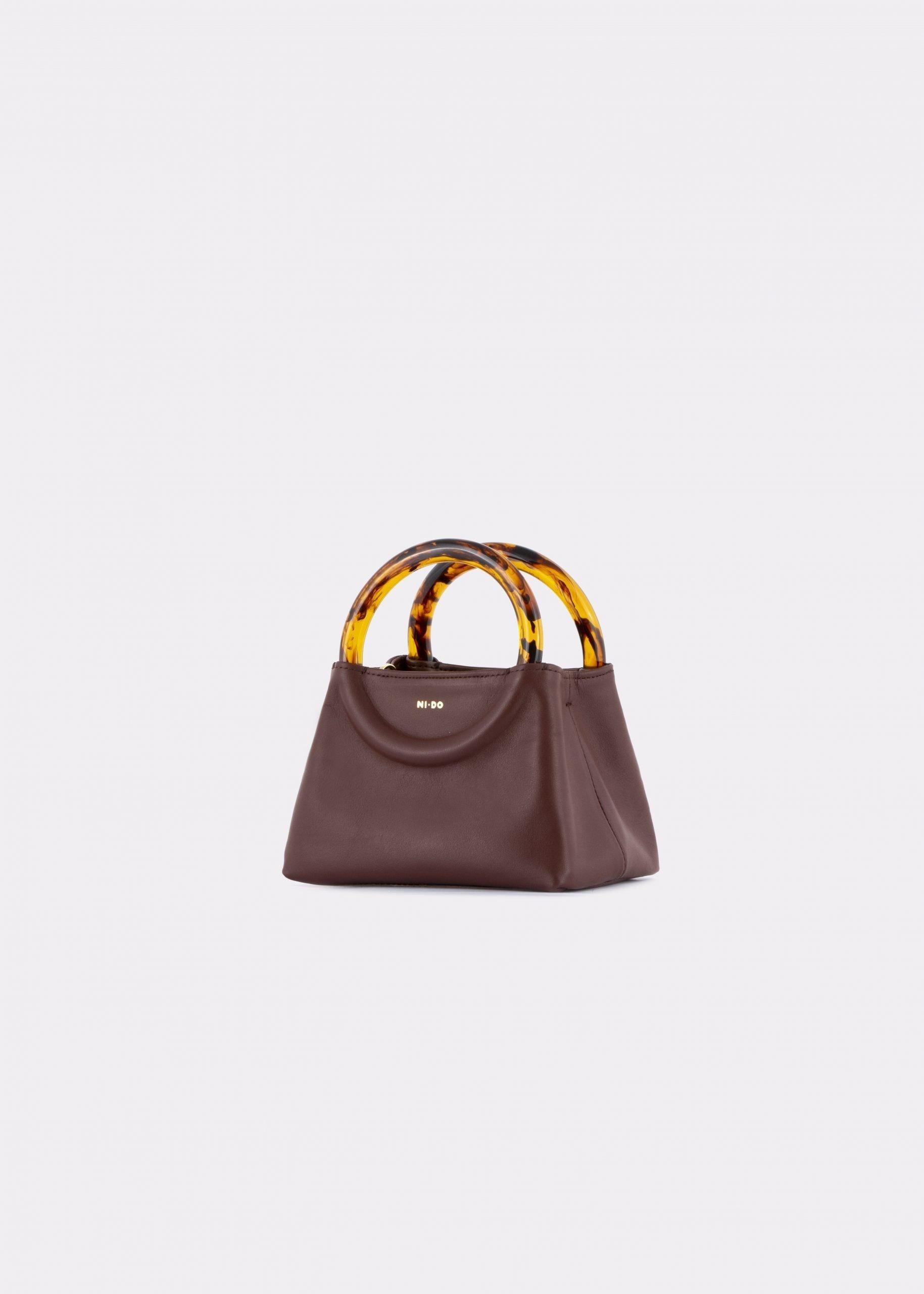 NIDO Bolla Micro bag brown leather Amber_side view