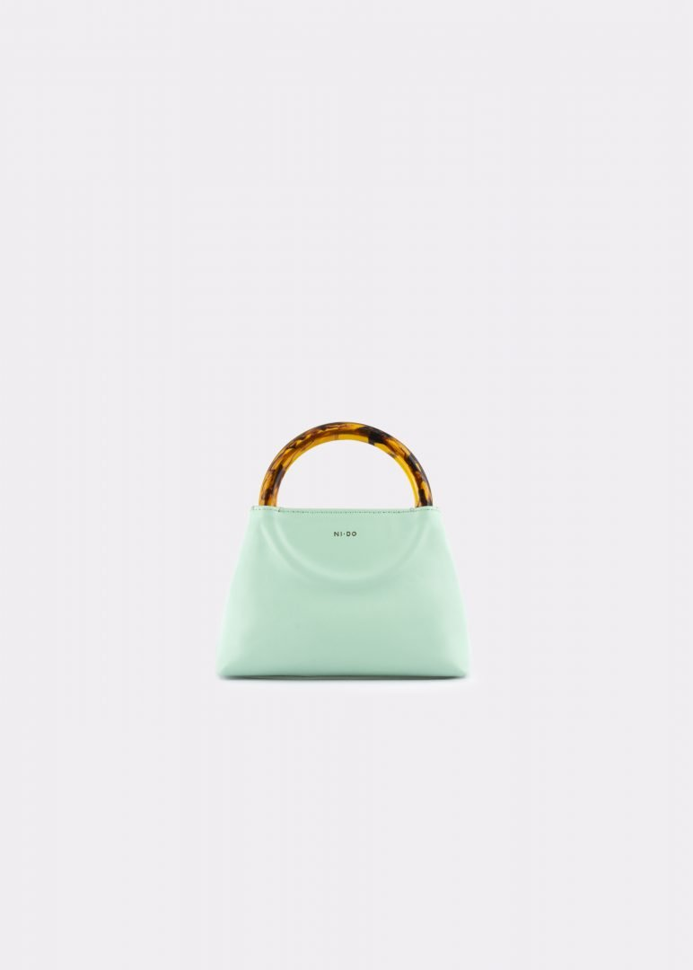NIDO Bolla Micro bag Pastel Sky leather Amber_front view