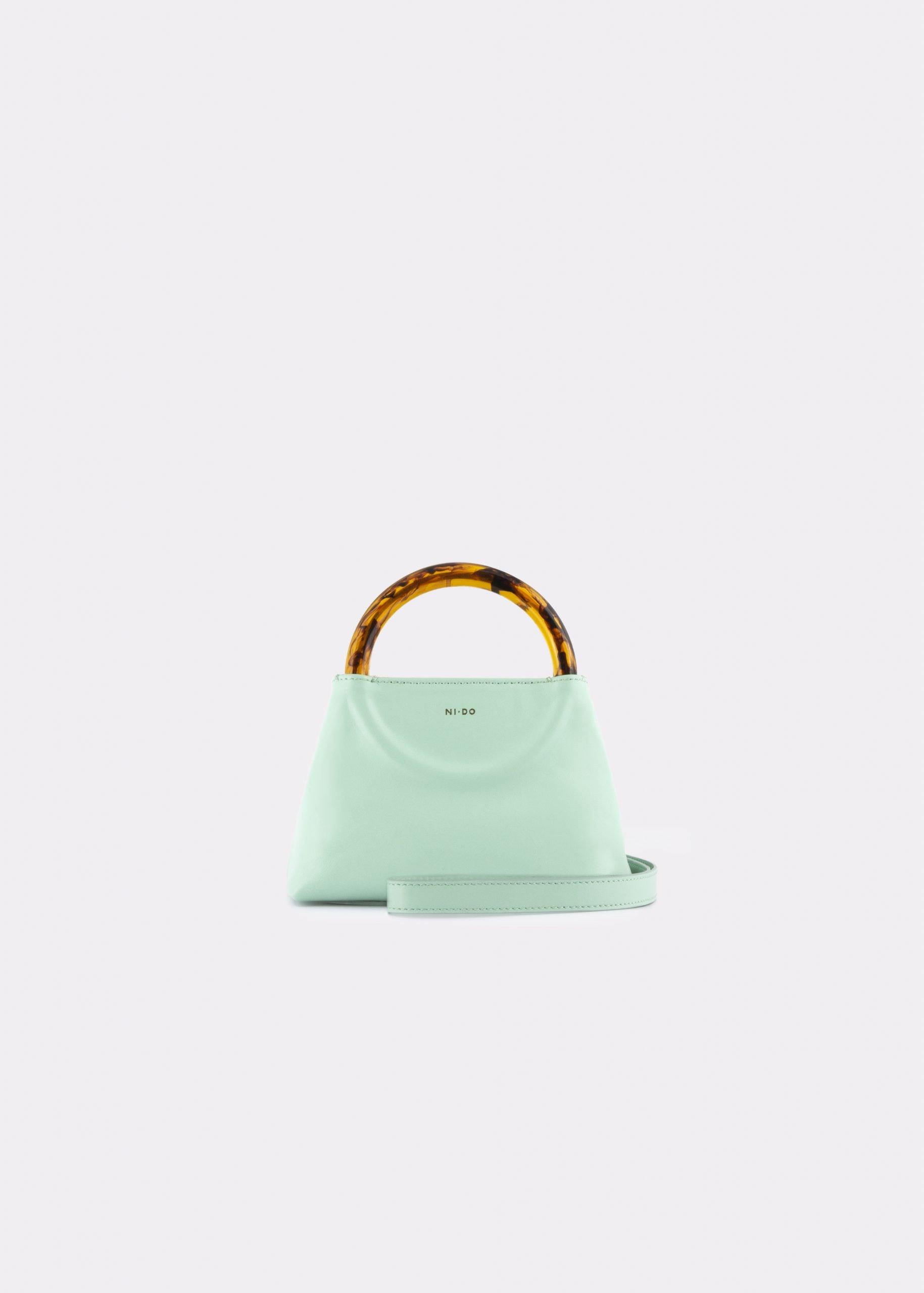 NIDO Bolla Micro bag Pastel Sky leather Amber_shoulder strap view