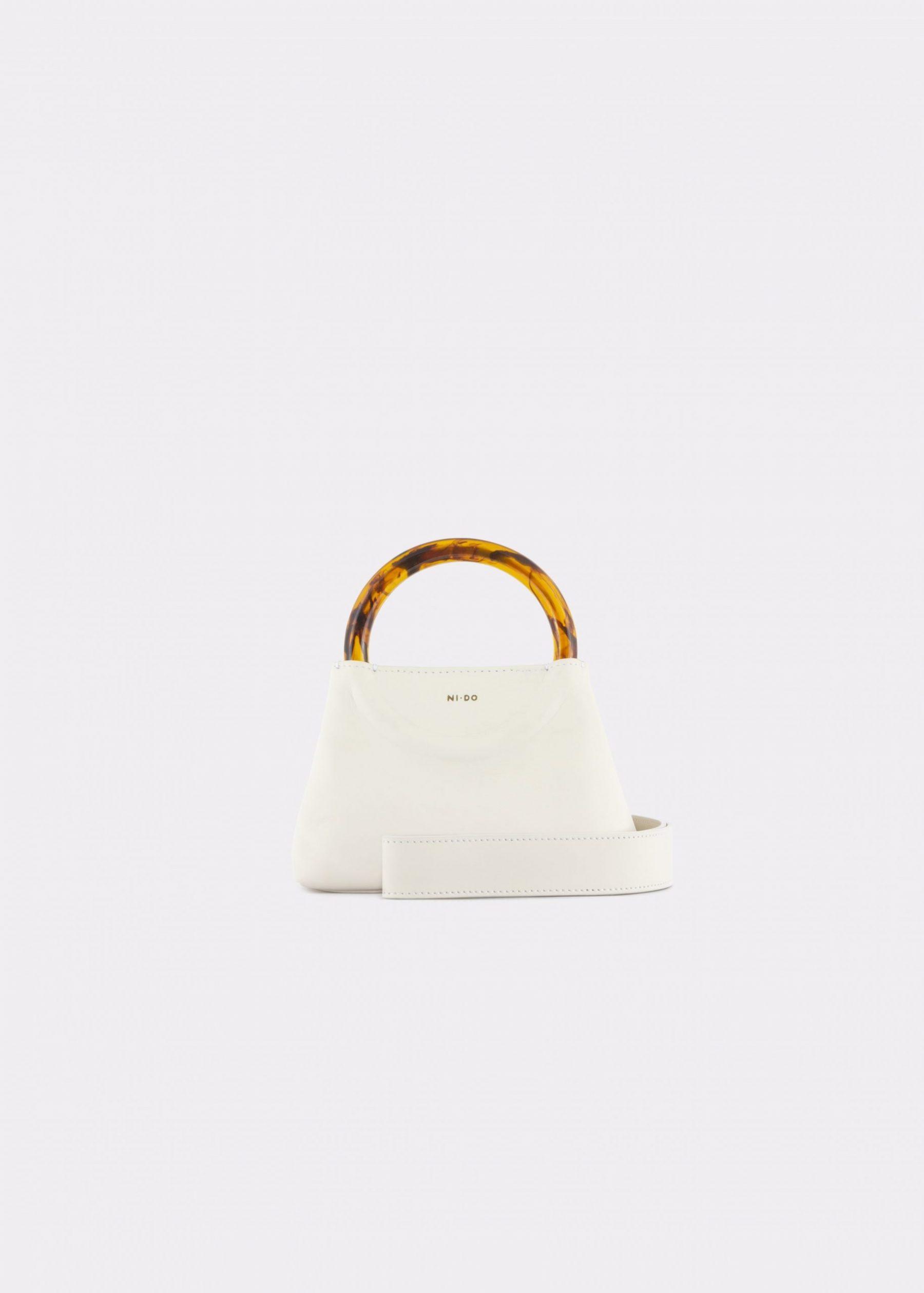 NIDO Bolla Micro bag soy milk leather Amber_shoulder strap view