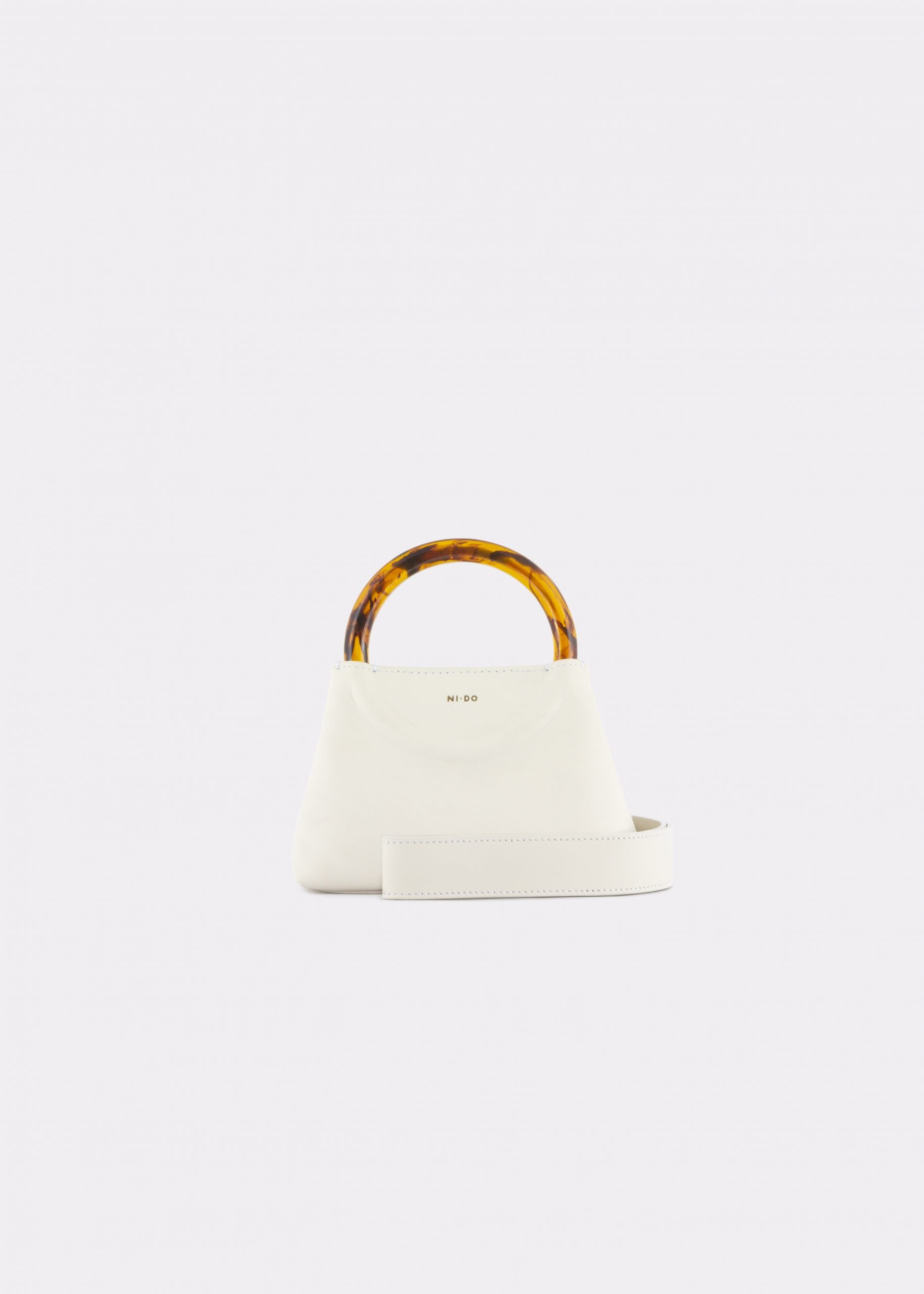 NIDO Bolla Micro bag soy milk leather Amber_shoulder strap view