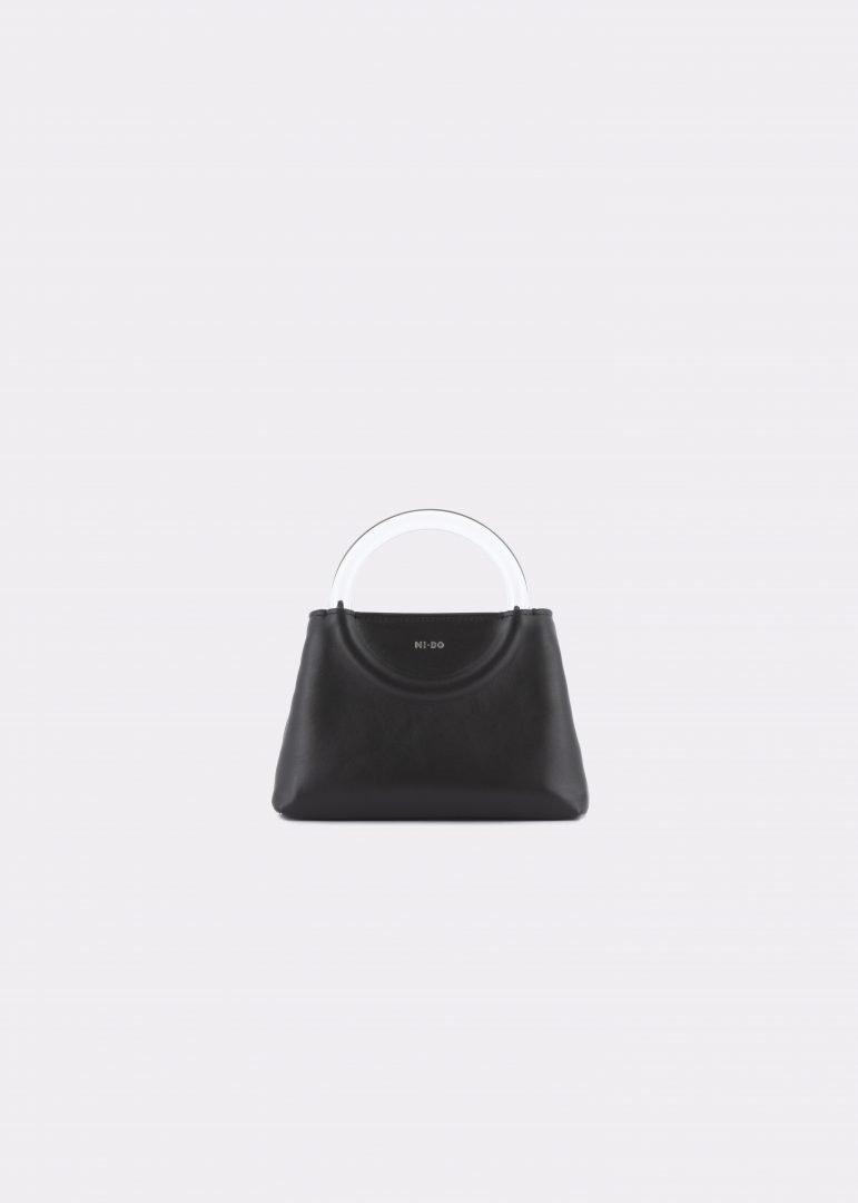 NIDO Bolla Micro bag black leather Plexy_front view